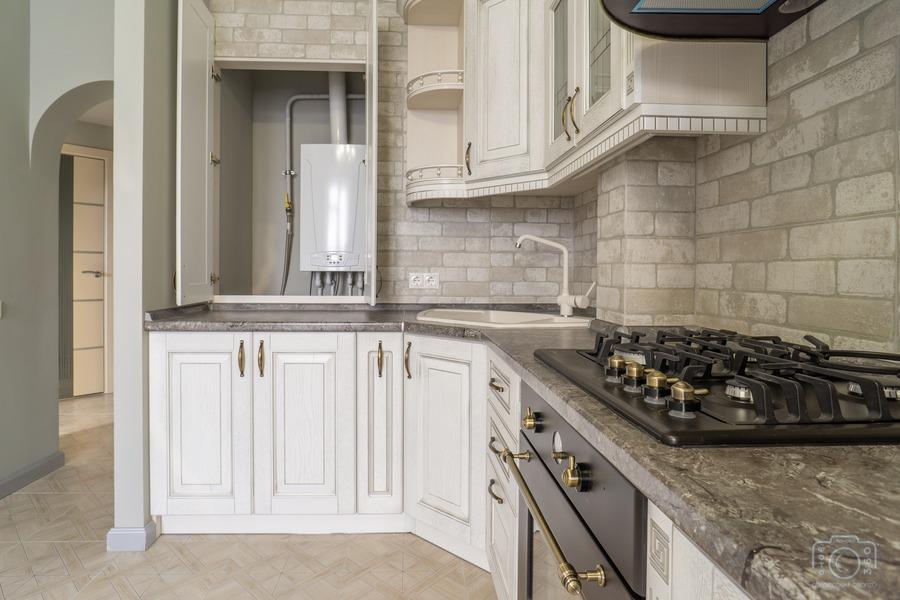 Белый кухонный гарнитур-Кухня из шпона «Модель 7»-фото9