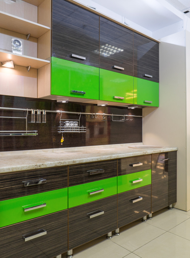 Купить зеленую кухню-Кухня из пластика «Модель 55»-фото3