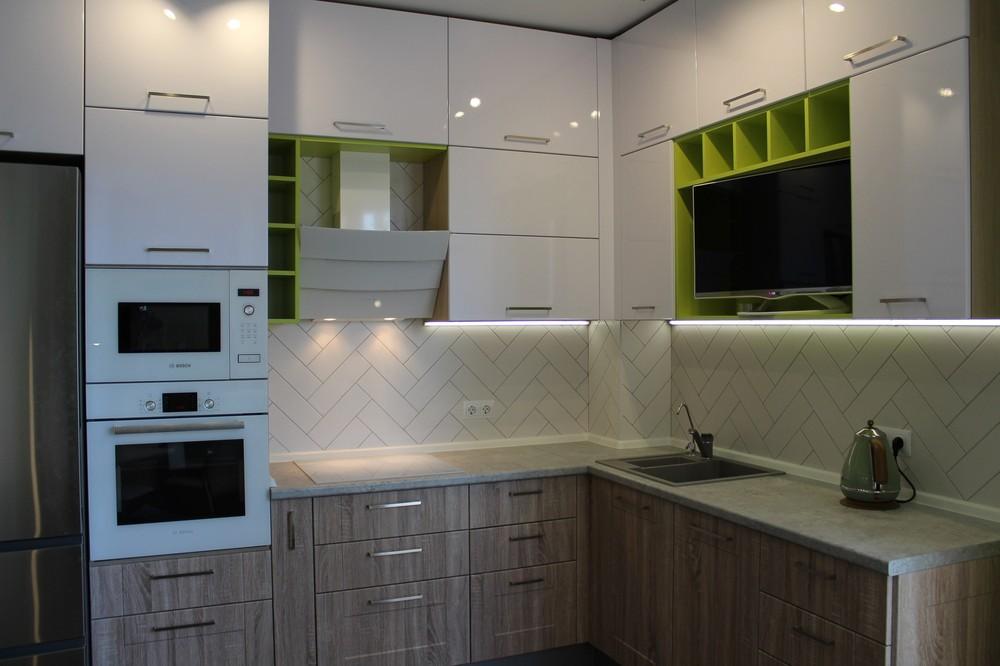 Акриловые кухни-Кухня МДФ в ПВХ «Модель 77»-фото1