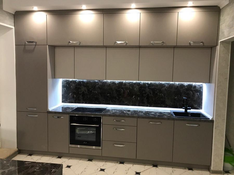 Встроенная кухня-Кухня МДФ в эмали «Модель 418»-фото2