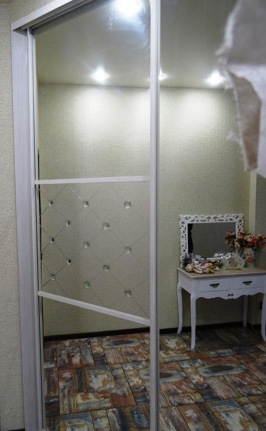 Бельевой шкаф-купе-Шкаф-купе с зеркалом «Модель 457»-фото2