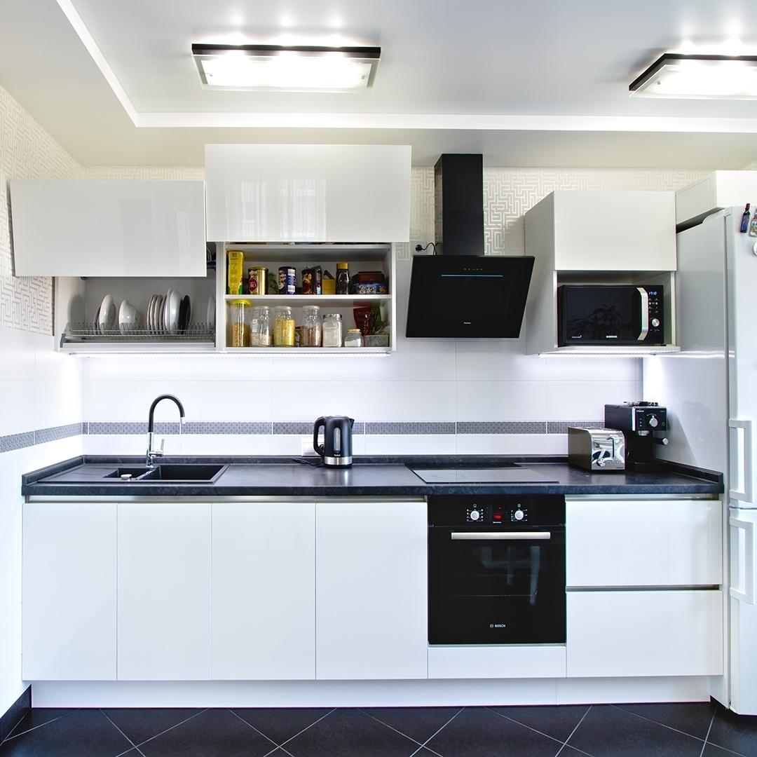 Белый кухонный гарнитур-Кухня из пластика «Модель 608»-фото1
