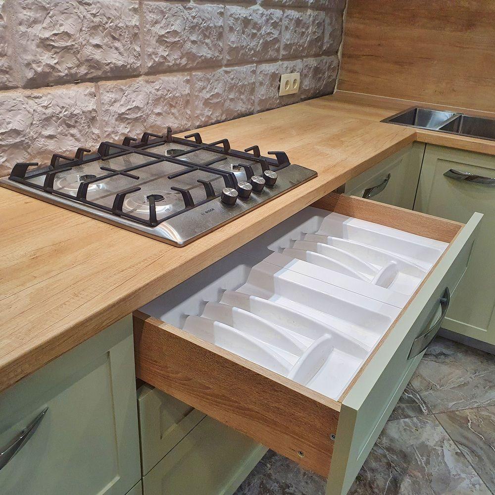 Бежевые кухни-Кухня МДФ в эмали «Модель 519»-фото6