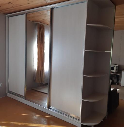 Бельевой шкаф-купе-Шкаф-купе с зеркалом «Модель 475»-фото5
