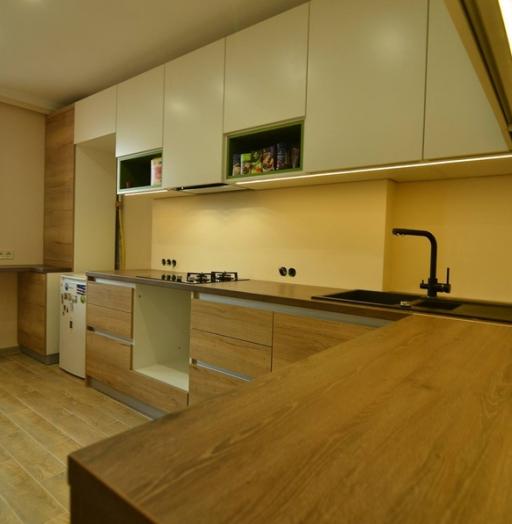 Белый кухонный гарнитур-Кухня из пластика «Модель 369»-фото5