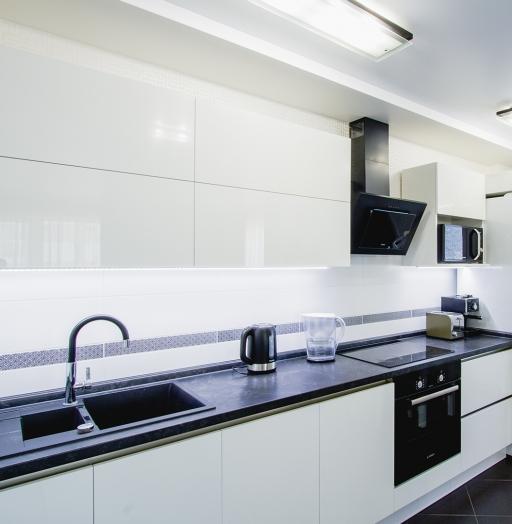 Белый кухонный гарнитур-Кухня из пластика «Модель 608»-фото4